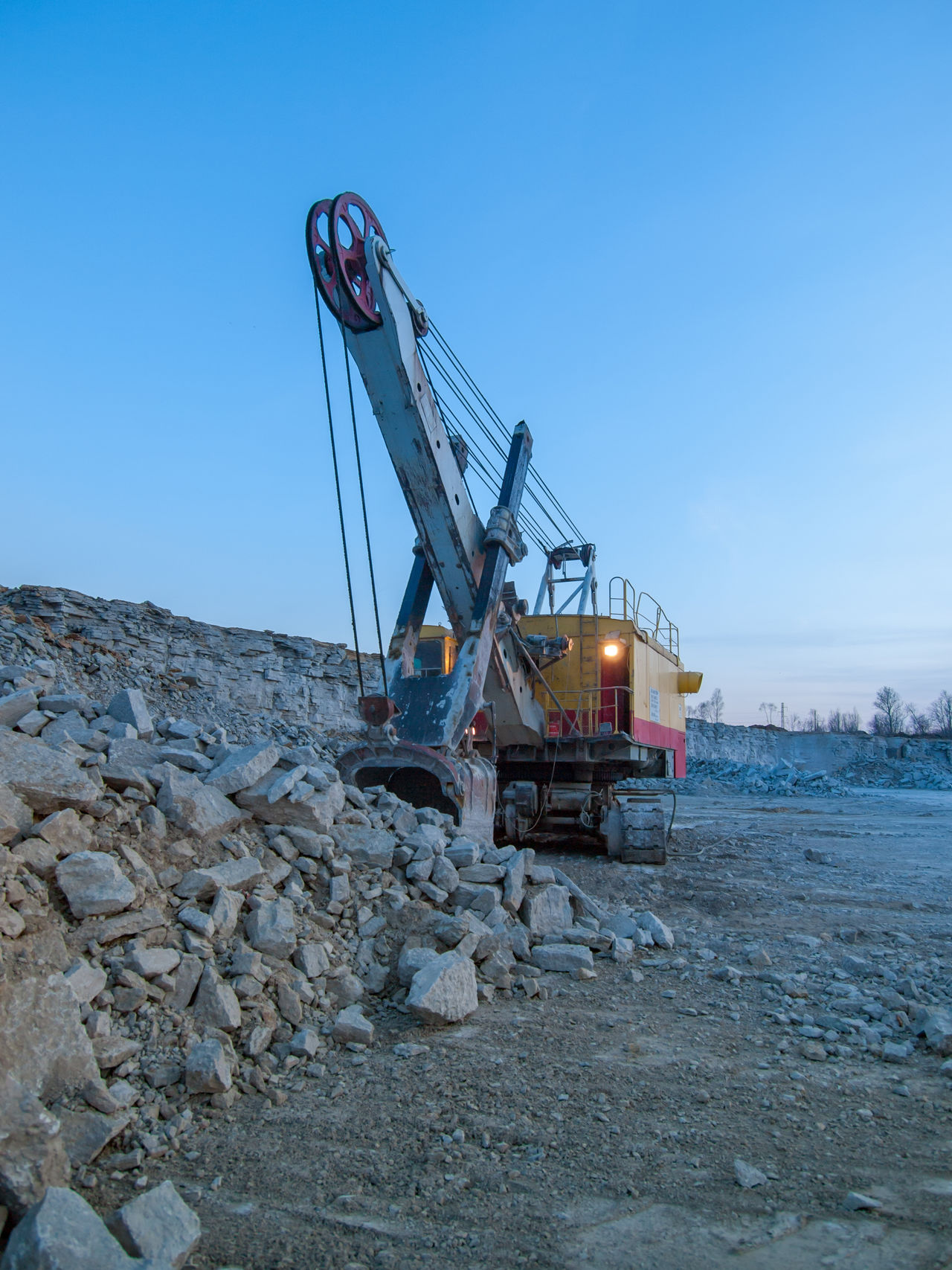 Business Finance And Industry Environment Excavator Industry Large Equip Limestone Limestone Rocks Mechanical Shovel Mini Mining Equipment Mining Machine No People Outdoors Quarry Sky