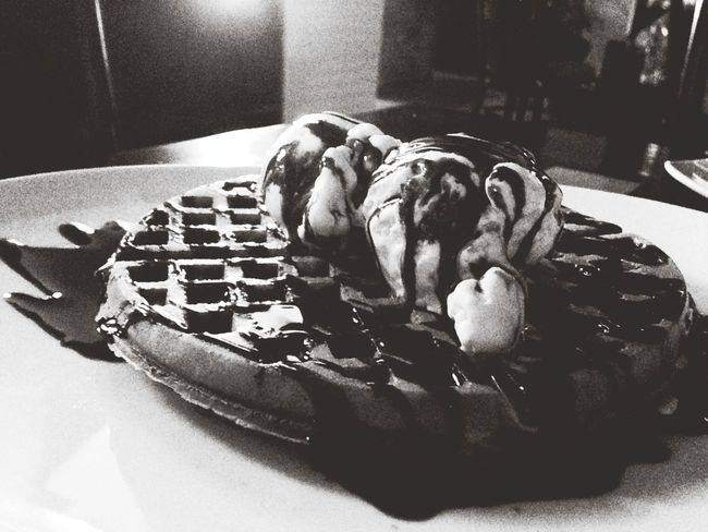 Waffle with ice cream scoop & hersheys syrup!!