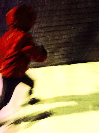 Boy Running Snow Shadow Night Abstract Movement Running Blurred Motion