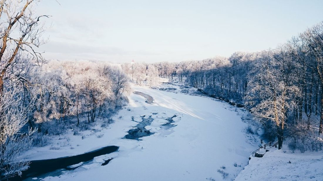 Nature Snow Cold Temperature Winter Beauty In Nature Sky Mountain Outdoors Landscape Water River Riverside Latvia
