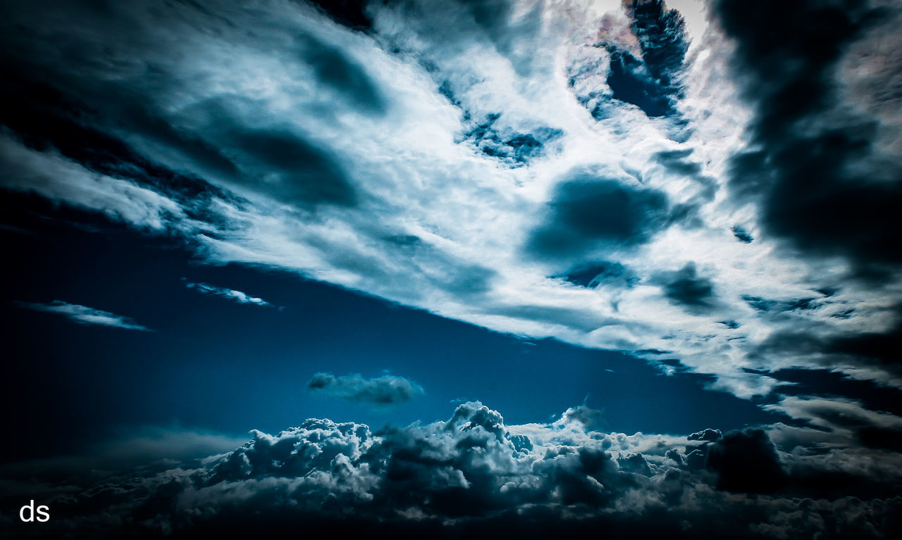cloud - sky, sky, beauty in nature, nature, cloudscape, tranquility, weather, tranquil scene, scenics, no people, storm cloud, low angle view, blue, outdoors, day, undersea, astronomy