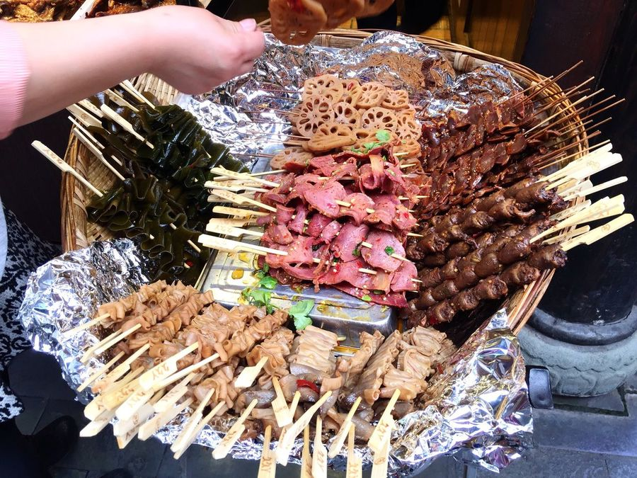 Food on sticks Food On Stick Local Food Culture Traditional Seafoods Meats Food Tray Chengdu Sichuan China Travel Colour Of Life Festival Season Eyeemphoto A Bird's Eye View