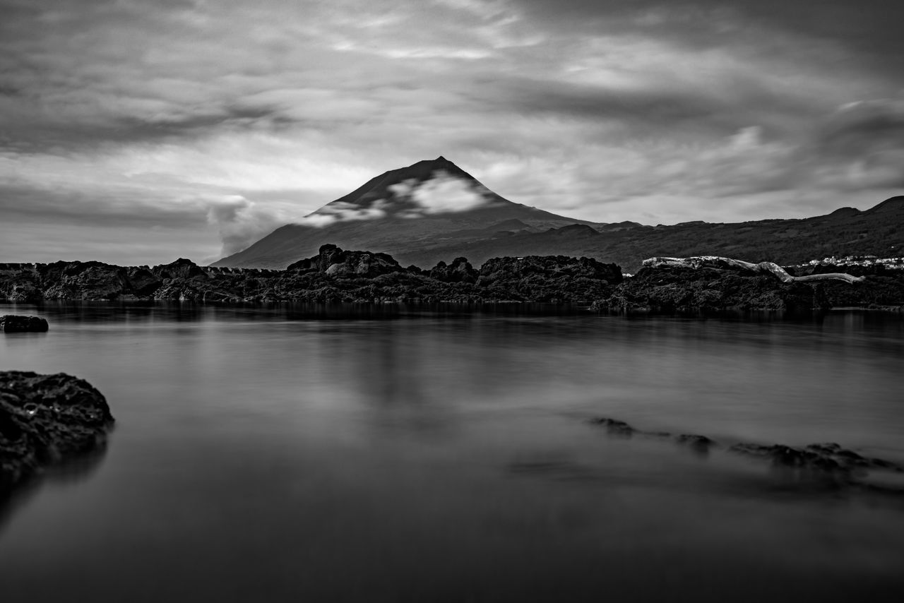 Beauty In Nature Black And White Cloud - Sky Copy Space Day Lake Landscape Long Exposure Madalena Mountain Mountain Range Nature No People Outdoors Pico Pico Açores Portugal Scenic Scenics Sky Tranquil Scene Tranquility Volcano Water Waterfront