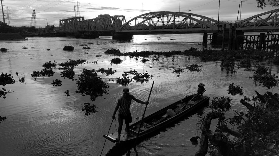 Water Reflection River Horizon Over Water EyeEm New Here Black And White Photography Silhouette Bridges Old Bridges Black And White Friday