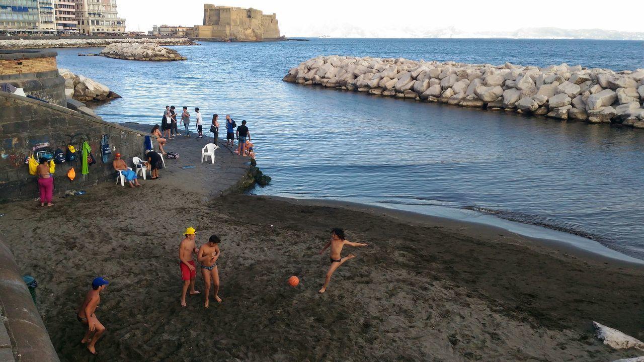Sea Beach Castle Folklore Enjoying Life Children Mergellina Via Caracciolo Horizon Over Water Sky Golf Of Naples Italy🇮🇹 Naples Napoli ❤