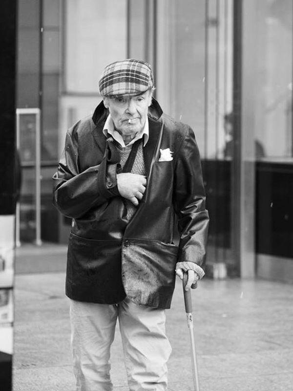 Bunnet Up Close Street Photography Street Photography Streetphotography Monochrome Black And White Glasgow  Sling Elderly Walking Stick Smoking