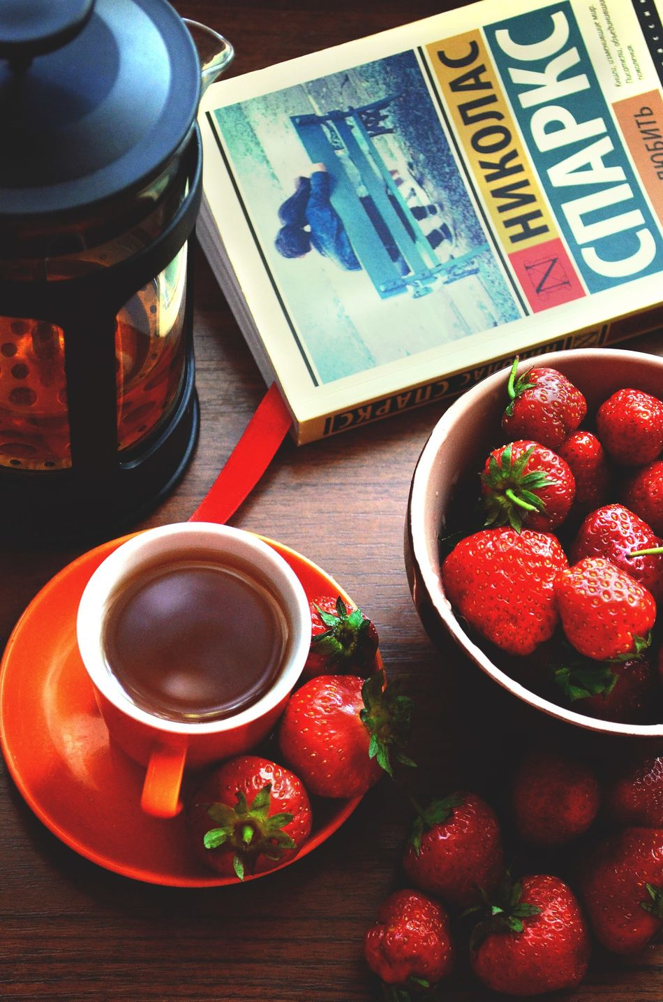 Strawberry Food Morning ElenaZ Summer Fruit Photo Photography Day Red Sweet Food Book Read Tea Love