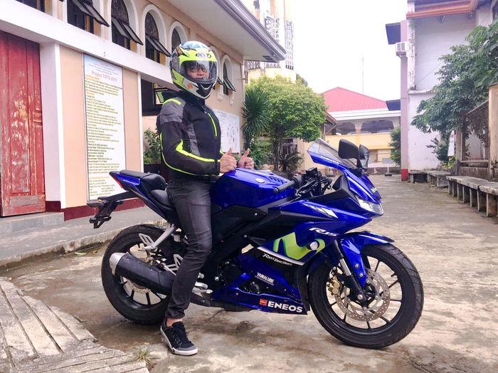 My first bigbike YAMAHA R15v3 😂 Bigbike R15v3 Kythelmet Kominejacket Eyeem Philippines Yamaha R15 Check This Out