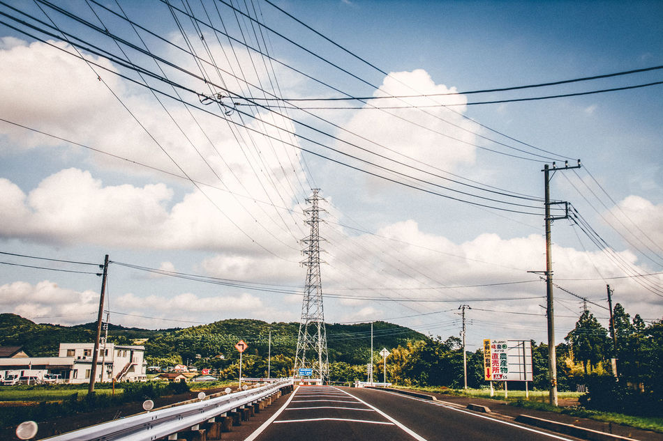 Cable Cloud - Sky Complexity Connection Countryside Day Drive By Shooting Electricity  Electricity Pylon Fuel And Power Generation Japan Nature No People Outdoors Power Line  Power Supply Road Sky Starting A Trip Technology Telephone Line Transportation Travel Travel Destinations Tree
