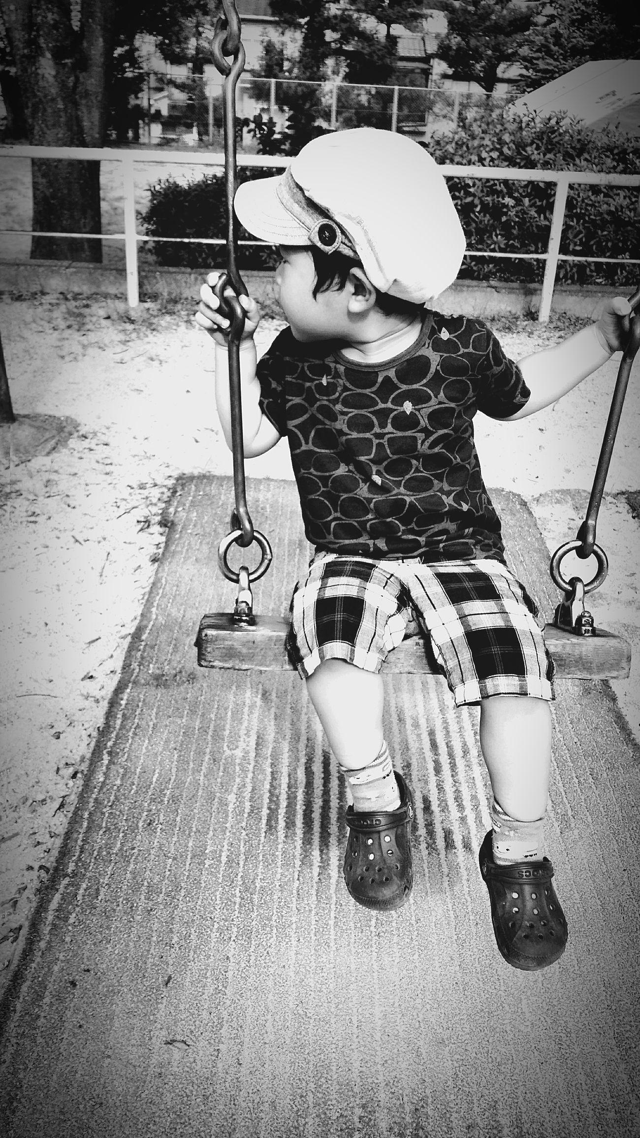 [16.08.21] 不安。 Black And White Park Japan Child Enjoying Life People Day Outdoors Cool Japan Person Creative Light And Shadow Japanese  Pixlr Monochrome Black & White One Person City Life Real People Boys Outdoor Play Equipment Swing