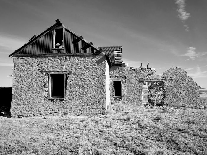 """""""Mystery Ranch"""" No. 3 in series. Up close and personal. Closeup New Mexico Photography New Mexico Abandoned Buildings Abandoned Places Stone Buildings Blackandwhite Photography Blackandwhite Architecture Built Structure Building Exterior Abandoned House No People Exterior"""