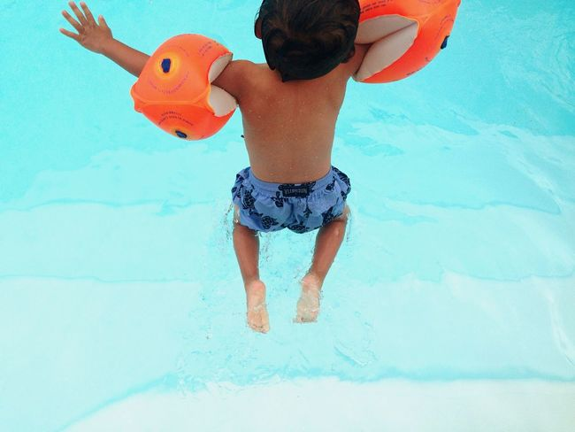 Going The Distance Citius, Altius, Fortius Diving Jumping Swimming Pool Armband Little Boy Growing Better Enjoying Life Splash Jump