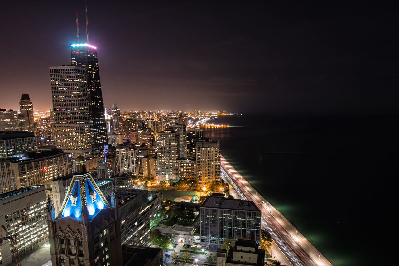 Aerial View Architecture Building Exterior Business Finance And Industry Chicago Chicago Skyline City Cityscape Downtown District Ferris Wheel Illuminated Lake Michigan Modern Night No People Office Building Exterior Outdoors Sky Skyscraper Urban Skyline