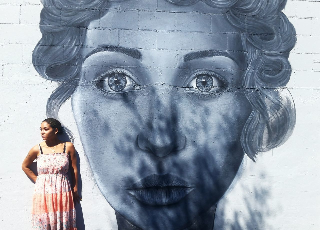 Painting Mural Mural Art Portrait Of A Woman Summer Dress Eyes Eyes Watching You Playing With The Shadows That's Me