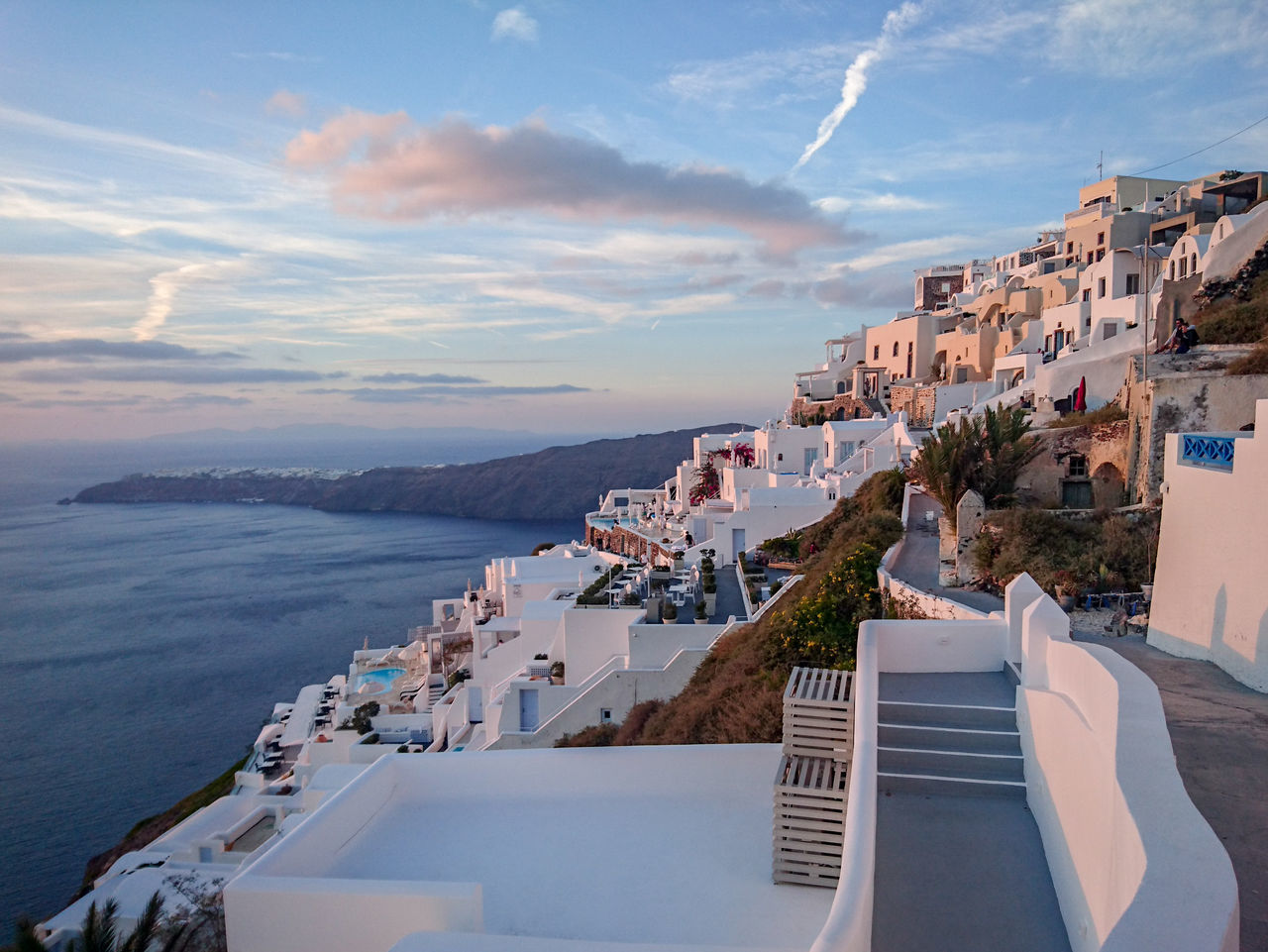 Santorini, Greece Sea Architecture High Angle View Roof Scenics Outdoors Cloud - Sky Building Exterior Cityscape Water Greek Islands Greekarchitecture Greece White Houses In Landscape Sunset Day Travel Destinations Ocean Tourism Beauty In Nature Famous Tourist Attractions
