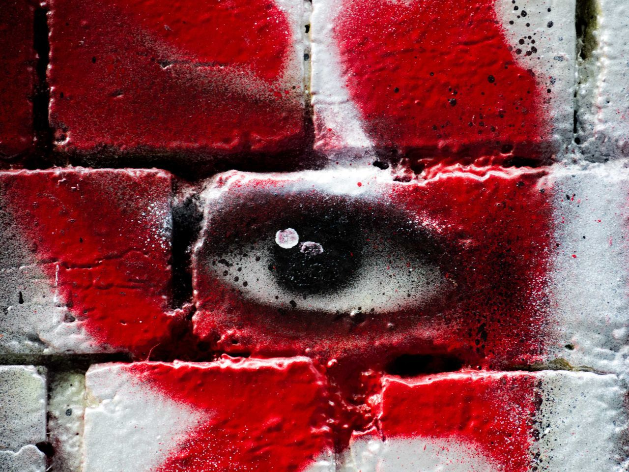 Backgrounds Close-up Day Eye Full Frame Graffiti No People Outdoors Red