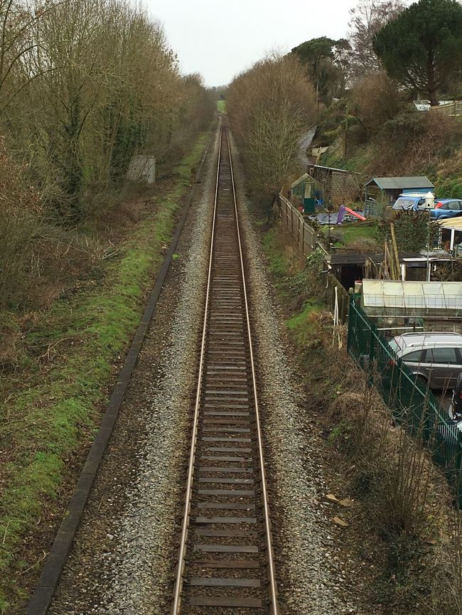 Public Transportation Railroad Track Vanishing Point Looking Down The Tracks Devon Newton St Cyres Taking Photos Waiting For A Train Perspective