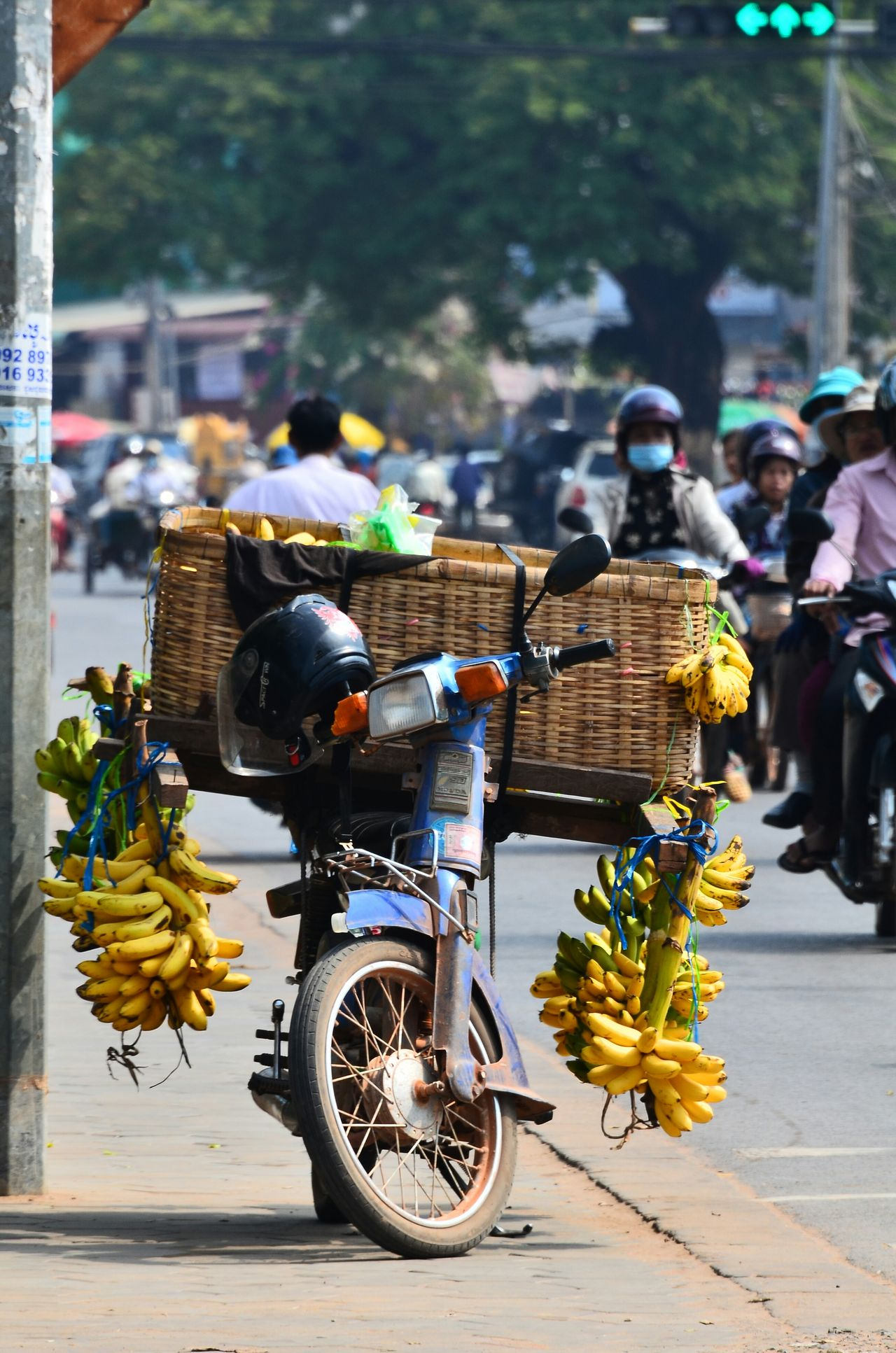 Beautiful stock photos of motorcycle, Banana, Basket, Day, Focus On Foreground
