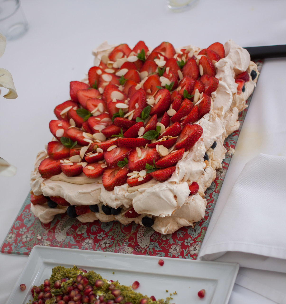 High Angle View Of Strawberry Cake