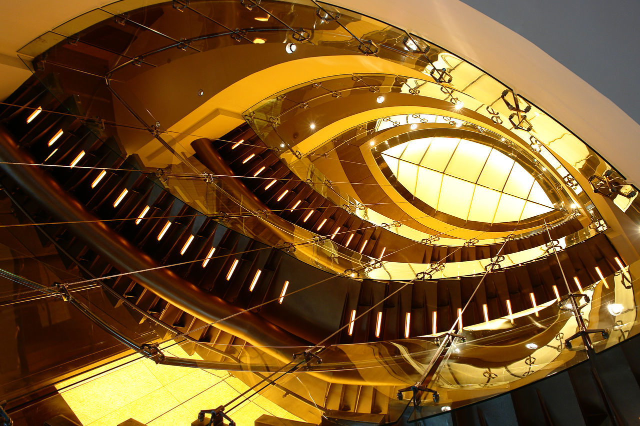 Architecture Built Structure Classic Gold Colored Indoors  Interior Design Leaf Shape Low Angle View Modern No People Railing Spiral Spiral Staircase Staircase Steps Steps And Staircases Yellow