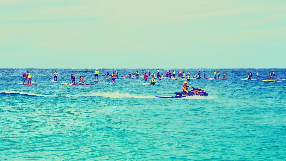 Stand Up Paddle #SUP Stand Up Paddling Stand Up Sea Real People Lifestyles Men Adventure Beauty In Nature Sky Nature Waterfront Horizon Over Water Leisure Activity Water Enjoyment Scenics Outdoors Sport Large Group Of People Extreme Sports Day Nautical Vessel
