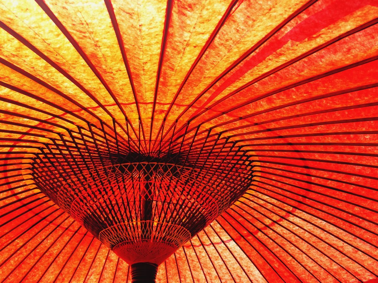 Close-Up Of Orange Japanese Umbrella
