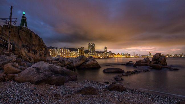 When the light turns on City Sea Seaside Nightphotography HongKong Water Movement Cloud - Sky Night Water Beauty In Nature Yau Tong Outdoors Nightview Magic Moments Discoverhongkong