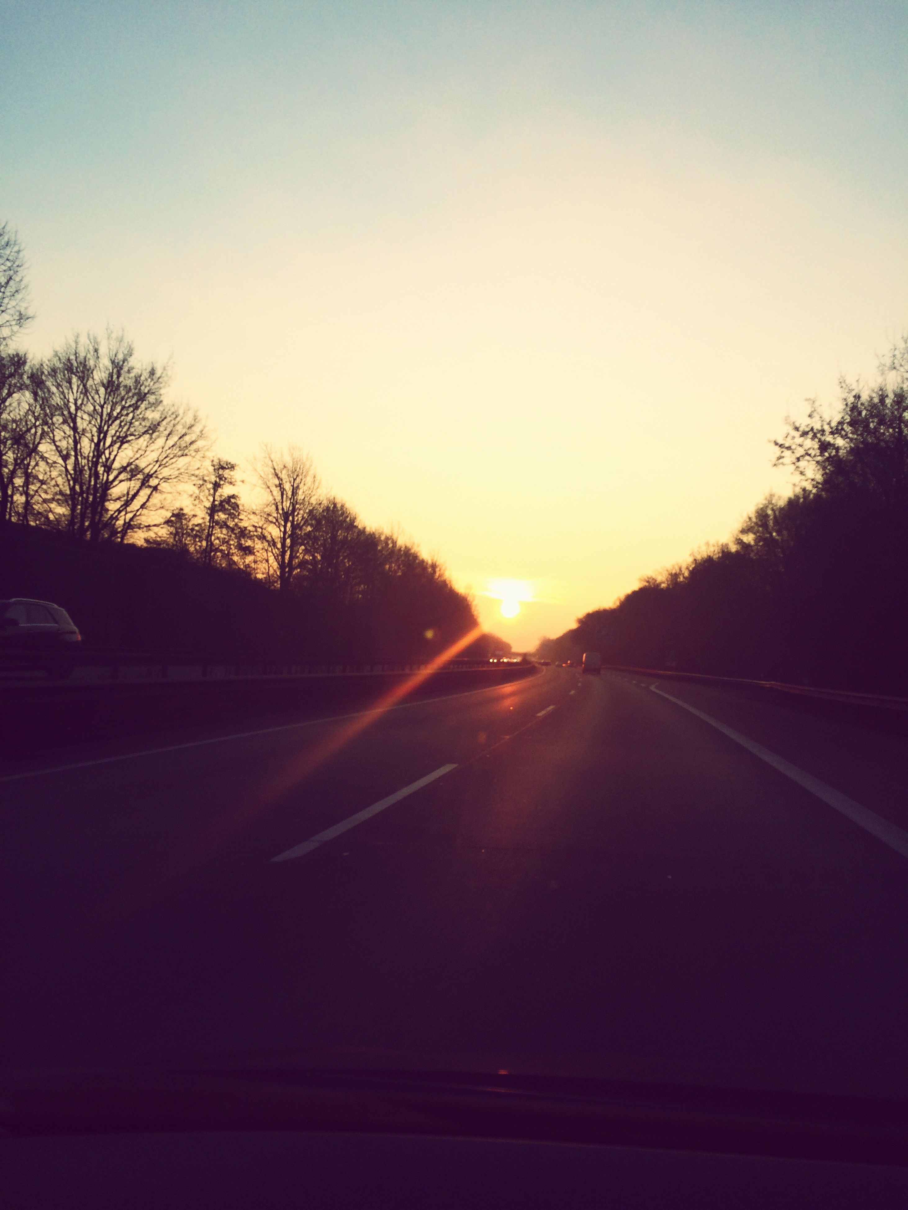 transportation, car, sunset, road, land vehicle, mode of transport, tree, sky, no people, the way forward, clear sky, car interior, nature, outdoors, sun, windscreen, beauty in nature, day