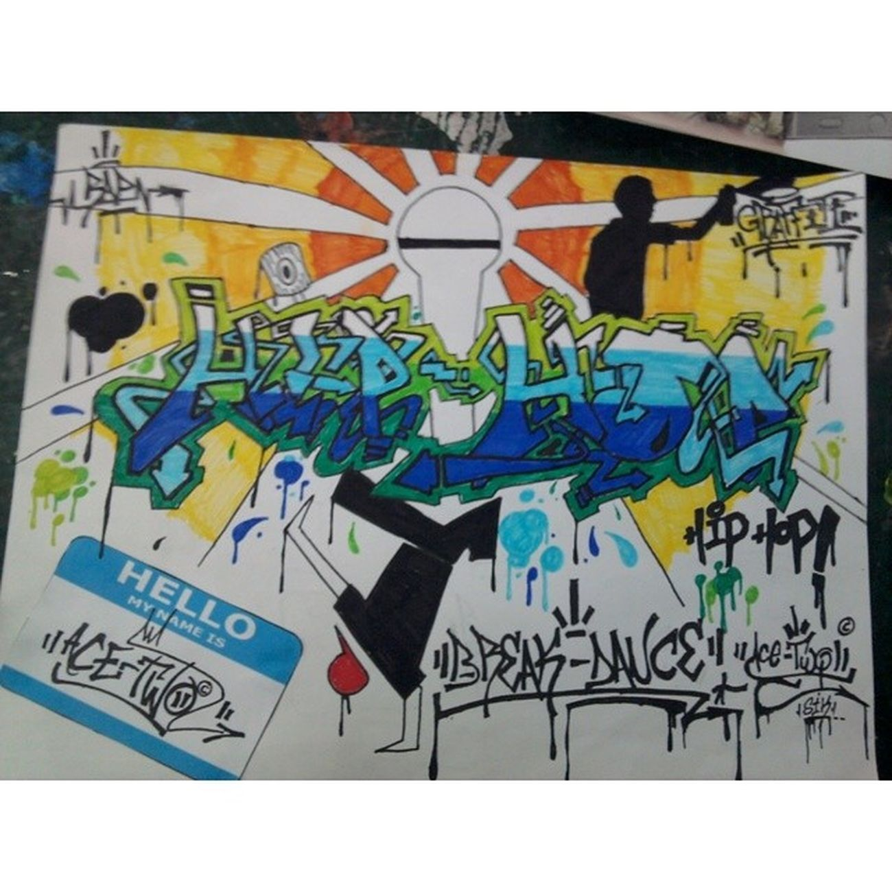 Hip-Hop Graffiti_on_paper Ace_Two SIK_CREW