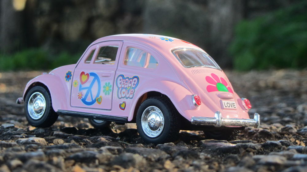 A little photo session whit a little car toy beetle :) Beetle Car Close-up Eye4photography  Land Vehicle Low Perspective Mode Of Transport Peace Rosé Toy Photography