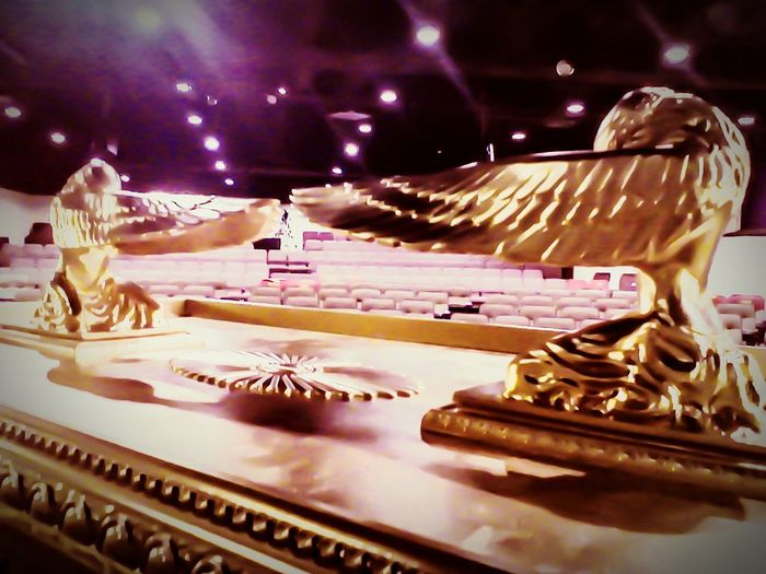 Ark Of The Covenant Replica  belonging to Bible Archaeologist Jim Rankin The Golden Cherubim atop the ark were CAST from the same Mold used for the one in Raiders Of The Lost Ark FWC Branson Faith And Wisdom Church Branson, Missourimule Feel The Journey