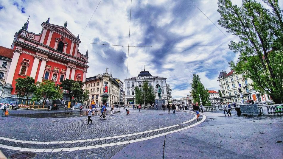 Slovenia City Street Square 135 Buildings & Sky Cloudy People Architecture Building Exterior Old Architecture Tranquil Scene Sky Illuminated City Life People Walking