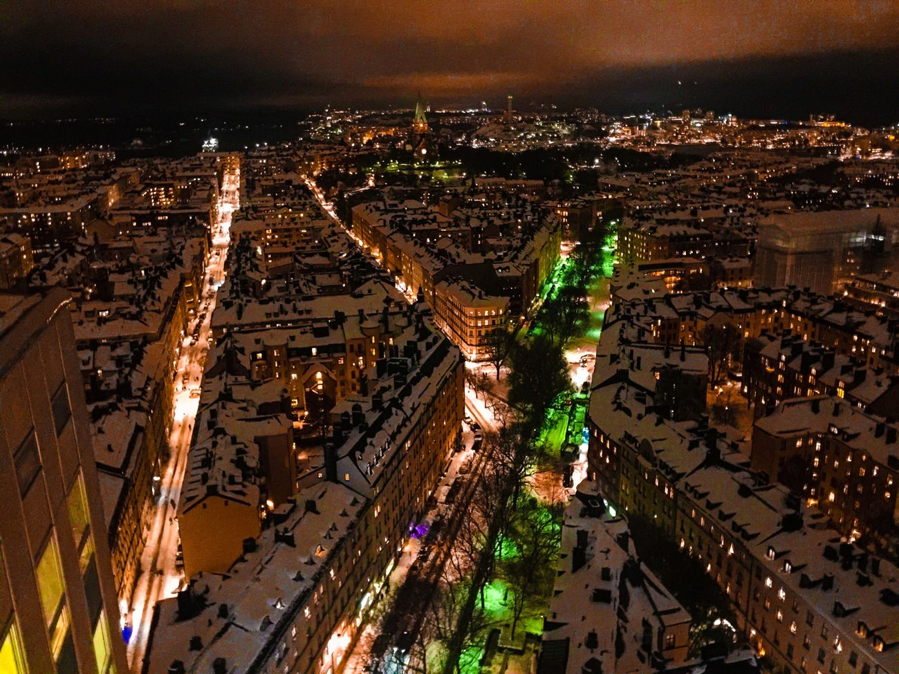 Cityscape City Architecture Illuminated Building Exterior Night Aerial View High Angle View Residential District Residential Building Built Structure Crowded Travel Destinations Outdoors Sky Snow Snow Covered Snow ❄ Nightphotography Night Photography Night Lights Night View