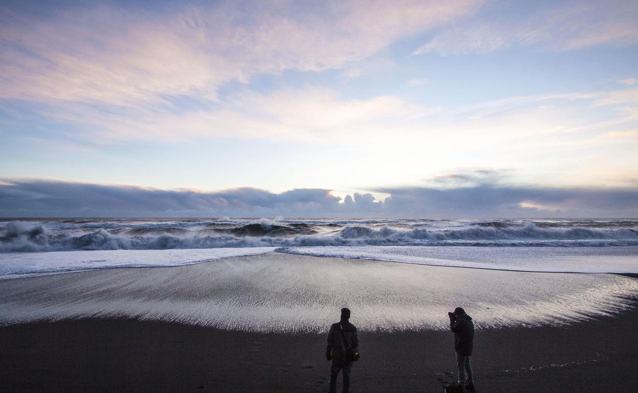 Beach Black Sand Beach Horizon Over Water Iceland Ocean Outdoors Sea Travel Destination Two People Vik Waves The Great Outdoors - 2017 EyeEm Awards