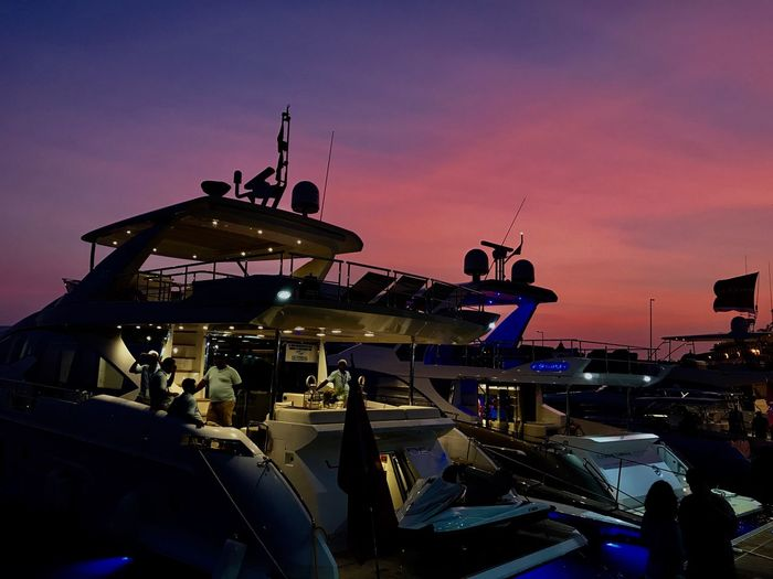 Last lights at the Boat Show... Sunset Sky Nautical Vessel Harbor Old City Yachts Yachtlife Boat Show Love My Job Mode Of Transport Break The Mold Transportation Harbourside