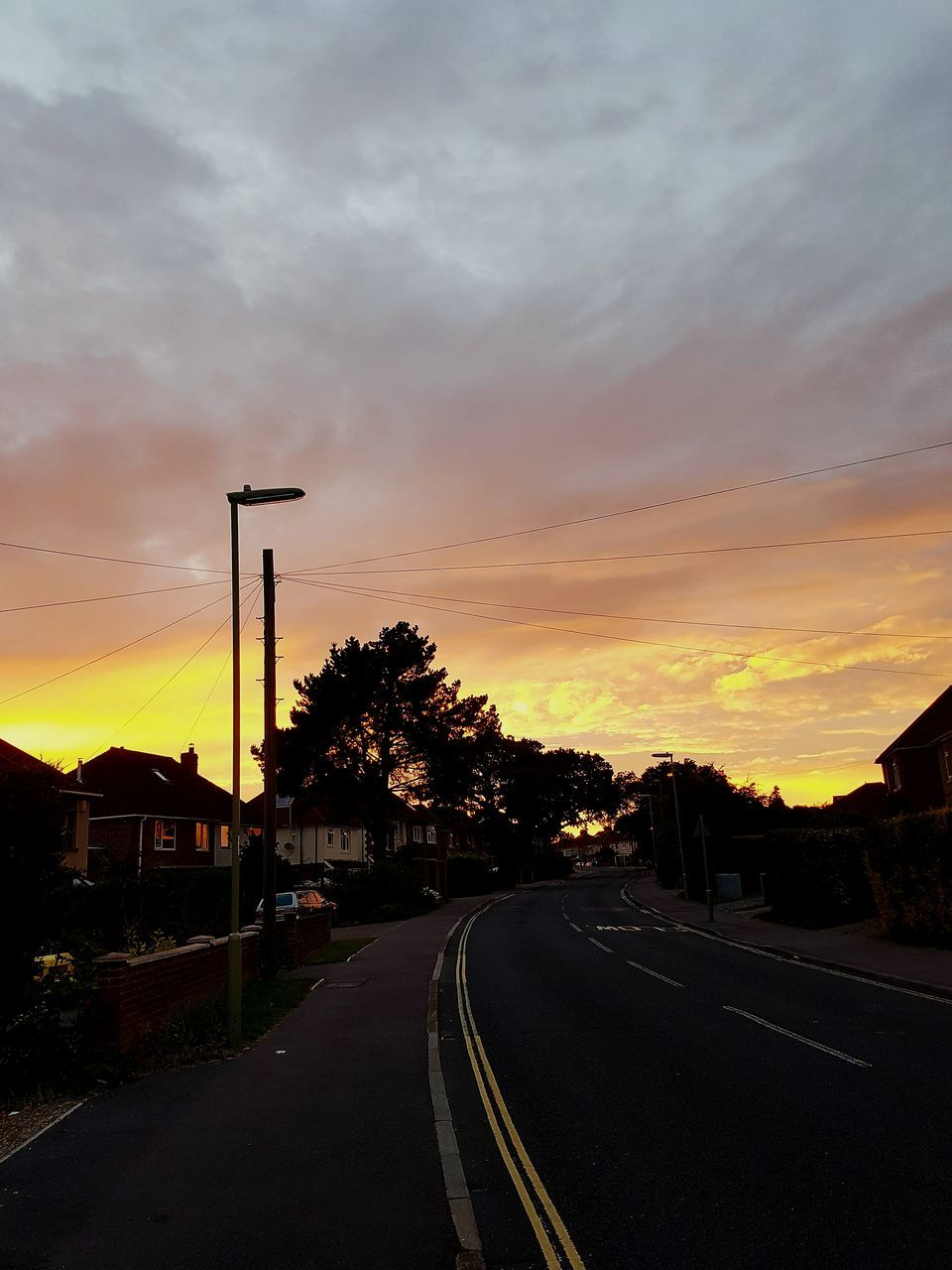 sunset, road, transportation, the way forward, sky, cloud - sky, no people, silhouette, scenics, nature, outdoors, tree, beauty in nature, day