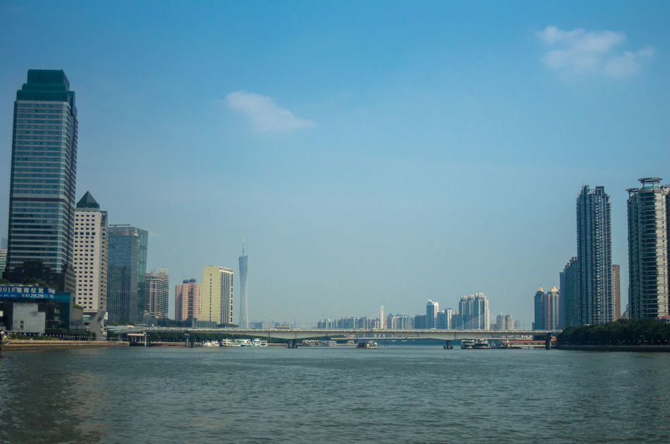Zhujiang River Cityscapes Blue Sky