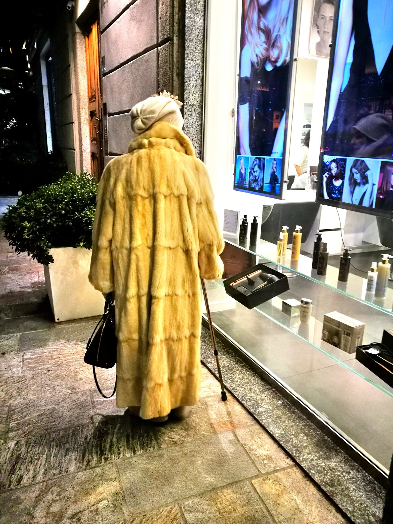 Built Structure Indoors  One Person People Women Lifestyles Outdoors My Year My View Always Be Cozy Exploring Style Nightlife Adult Aged Fur Walking Walking Cane Old Woman Back View