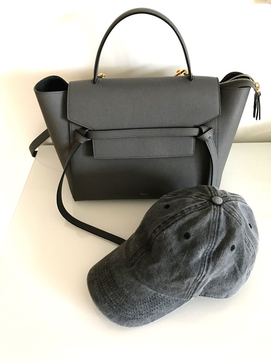 Bag Still Life No People White Background Indoors  Luggage Table Suitcase Purse Close-up Day Celine Celinebag Celine Bag Grey Bag Grey Celine Bag Cap Baseball Cap Grey Baseball Cap