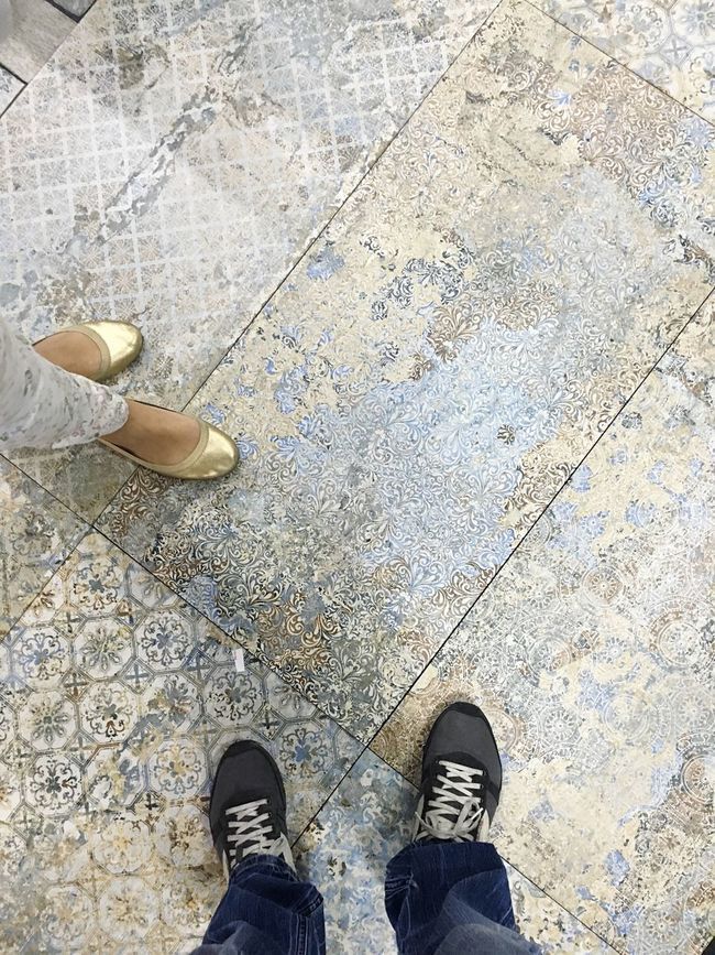 Man and woman Low Section Shoe Standing Person Personal Perspective Conversación Man And Woman Tiles Tile Texture