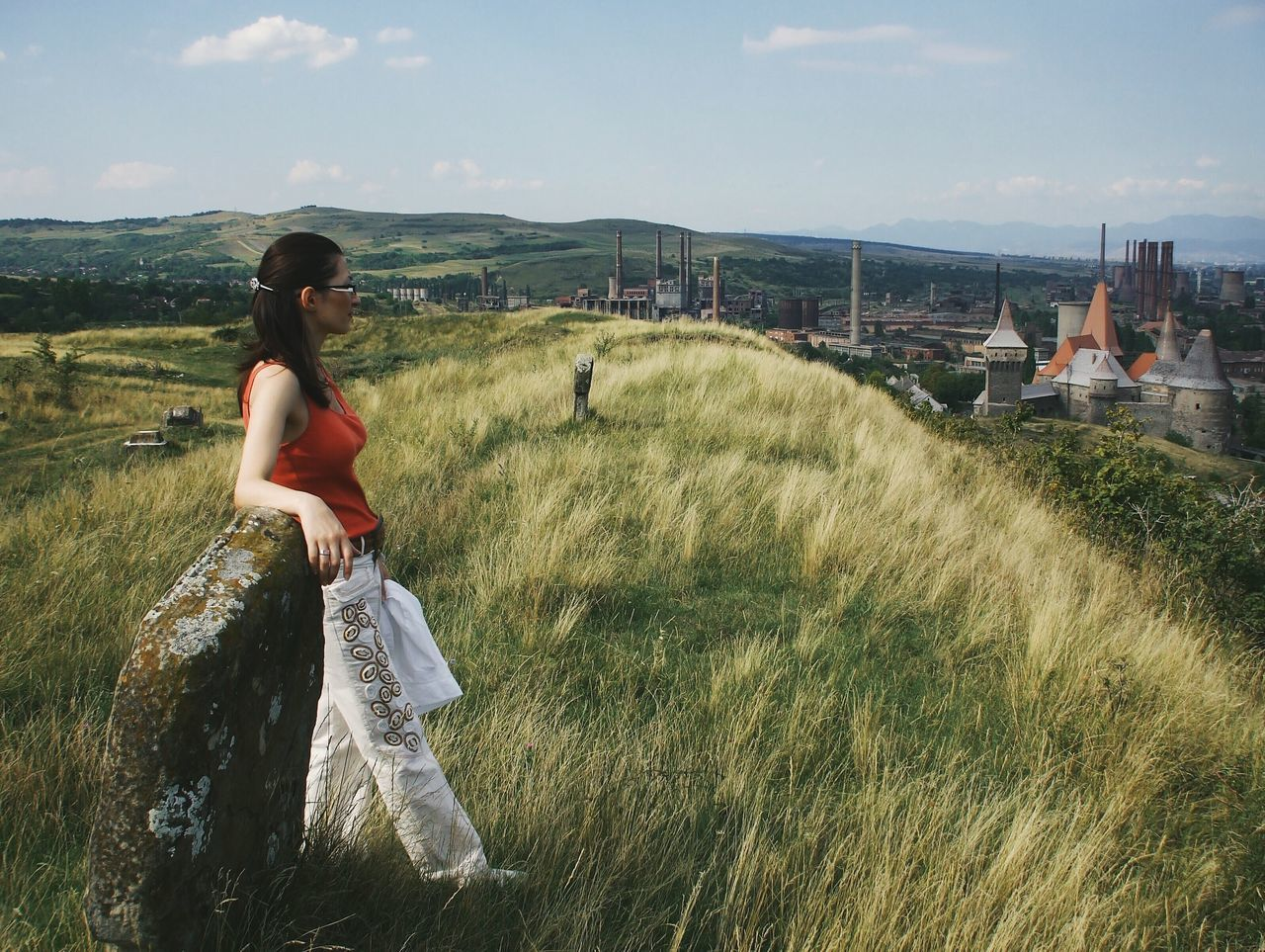 Contemplating... Grass Leisure Activity Lifestyles Beauty In Nature Nature Women Architecture Scenics Landscape Standing Young Adult Details Of My Life Made In Romania VSCO Industrial Abandoned Places Cemetery My Favorite Photo WeekOnEyeEm Summer Above Woman Fashion Castle