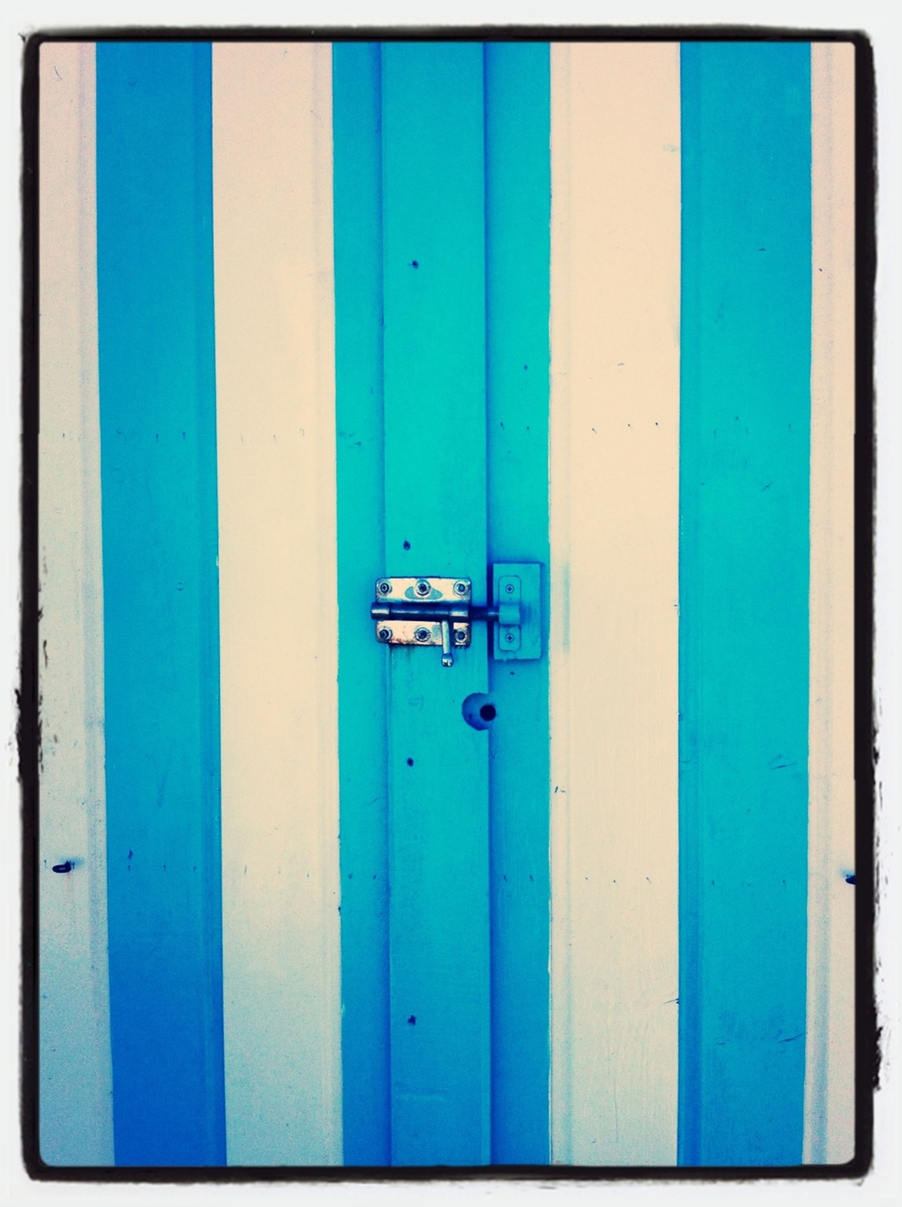 blue, door, transfer print, wood - material, safety, protection, auto post production filter, closed, wooden, security, day, built structure, outdoors, metal, no people, wood, close-up, building exterior, green color, wall