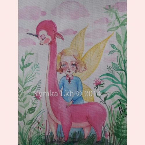 """Done. """"Souls"""" made with love 4 19X25,5 Finishedwork Nighttime Sketching Painting watercolor illustration working on new tiny piece of art fairy with pink creature unicorn NymkaLkh Nymka Lkh © 2014 souls made with love4"""