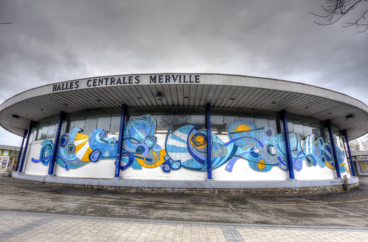 halles de Merville à Lorient Architecture Art Bretagne Cloud - Sky Creativity Design Fresque Grand-angle Halles Lorient Low Angle View Merville  Multi Colored No People Outdoors
