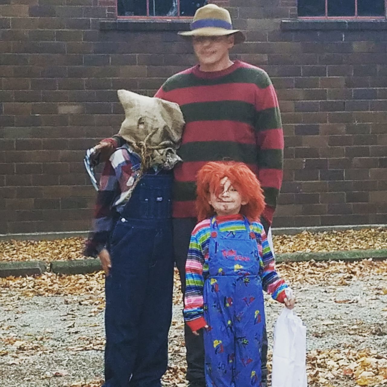 Freddykrueger Chucky Jasonvoorhes Adult Togetherness Two People Mature Adult Adults Only People Men Outdoors Day Warm Clothing Rural Scene 2017 Scary Indiana Klein Halloween Halloween_Collection