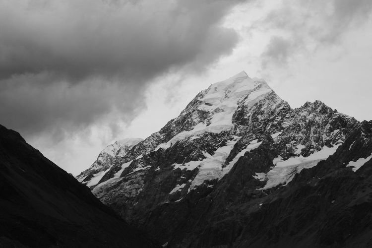 Mountain Sky Beauty In Nature Nature Scenics Cloud - Sky Day Mountain Range Tranquil Scene Tranquility Snow Outdoors Peak No People Low Angle View Landscape Mountain Peak Clouds Blackandwhite Black And White Snow ❄ Snowcapped Mountain Snow Covered Mount Cook New Zealand