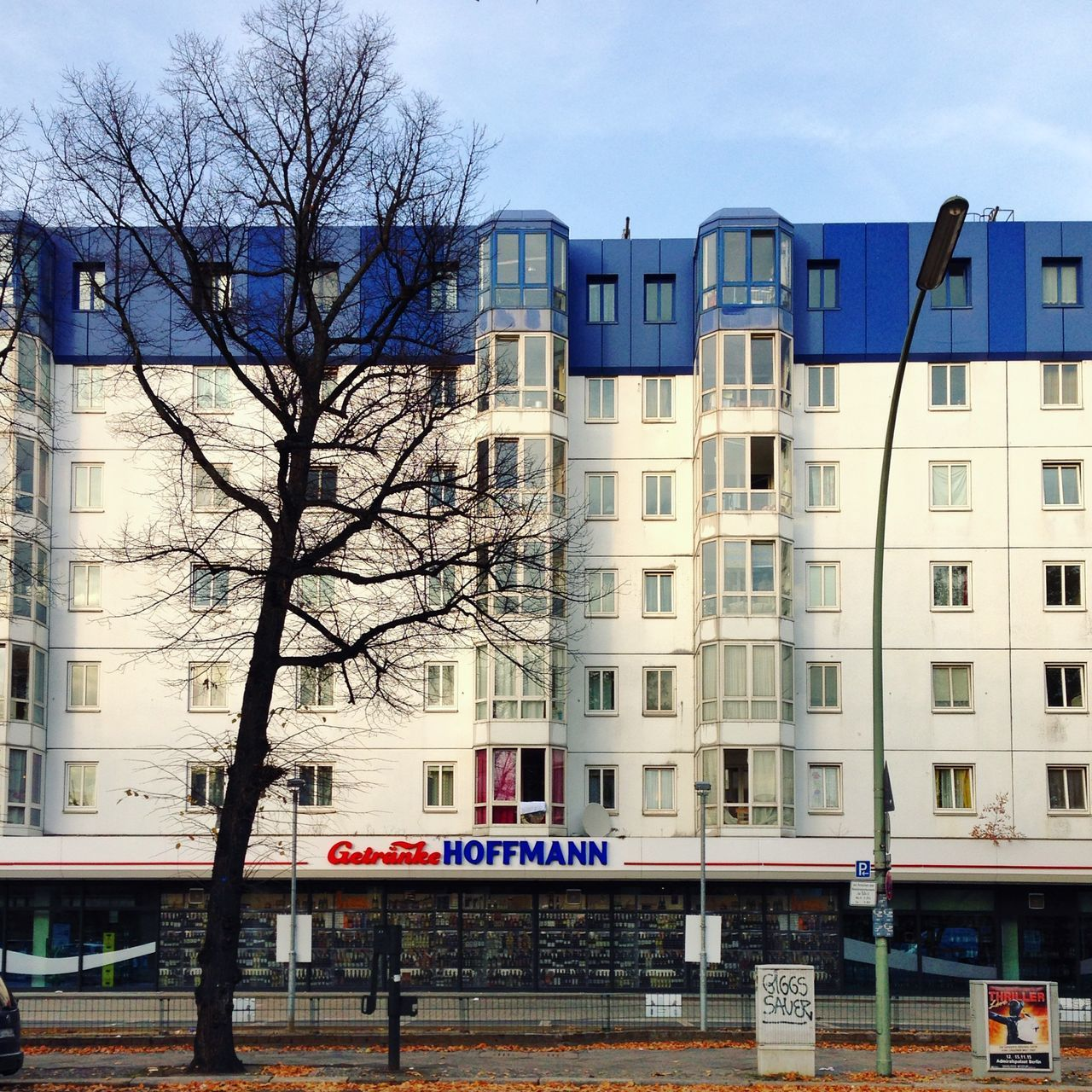 Abstract Architecture Architecture Bare Tree Bare Trees Berlin Photography Berliner Ansichten Berlinstagram Blue Roof Building Exterior Built Structure City Day Façade Lantern Minimal No People Outdoors Plattenbau Prefabricated Houses Sky Straightfacade Streetphotography Tree Tree Trunk
