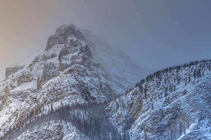 Alberta Canada Lake Louise Banff National Park  Mountain Winter Snow Overcast