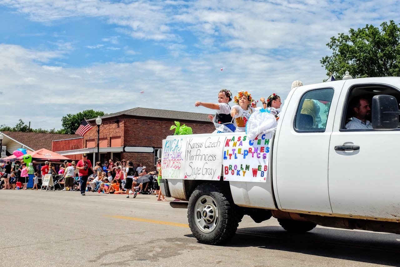 55th Annual National Czech Festival August 5, 2016 Wilber, Nebraska Candy Cart Celebration Cloud Cloud - Sky Color Photography Czech Days Czech Festival Czechgirl Day Event Land Vehicle Main Street USA Midday Sunlight Mode Of Transport Nebraska No People Outdoors Parade Parked Road Sky Smal Town USA Transportation Wilber, Nebraska