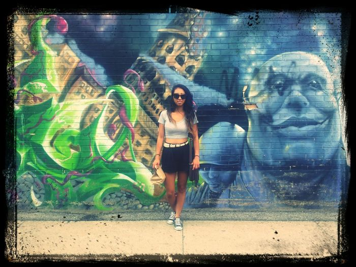 Ootd and some sick Graffiti Art . Street Photography Street Fashion